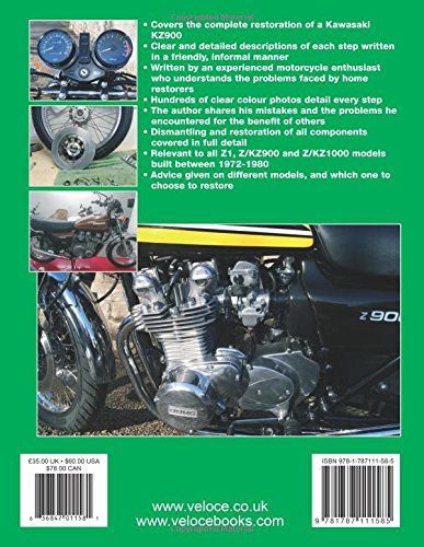 Kawasaki Z1, Z/KZ900 & Z/KZ1000 Restoration Manual Back Cover